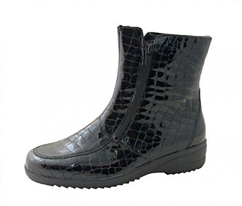 Waldläufer Ladies Boots Hissa 525002-150-001 croco black schwarz