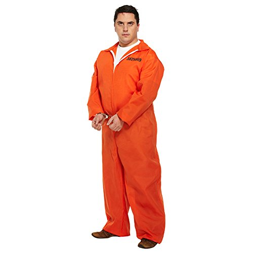 [Prisoner Plus Size Fancy Dress Costume (Orange)] (Robber Costumes)
