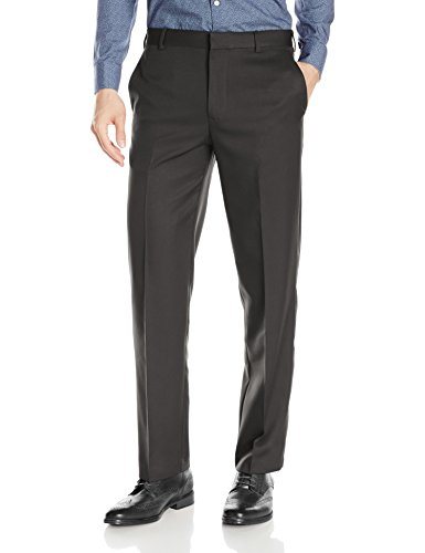Arrow Men's Aroflex Flat Front Straight Fit Pant, Charcoal, 38W x 29L
