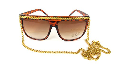Snooki Costumes (Snooki Black Gold Tone Chain Sunglasses Lady Glasses Jersey Shore)