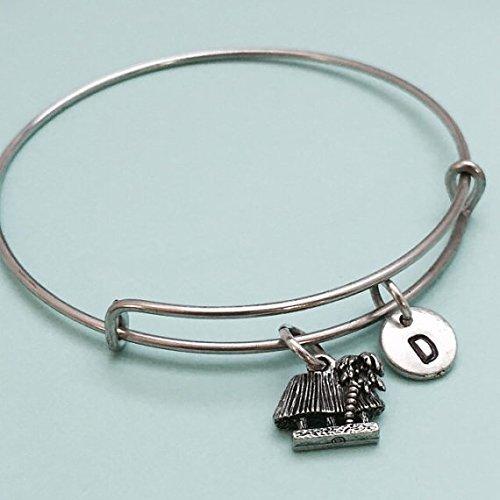Tiki hut bangle, tiki hut charm bracelet, tropical paradise, expandable bangle, charm bangle, personalized bracelet, initial bracelet (Paradise Hut Tiki)