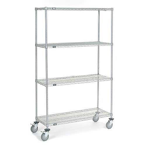 Chrome Wire Shelf Truck, 48x18x80 1200 Pound Capacity