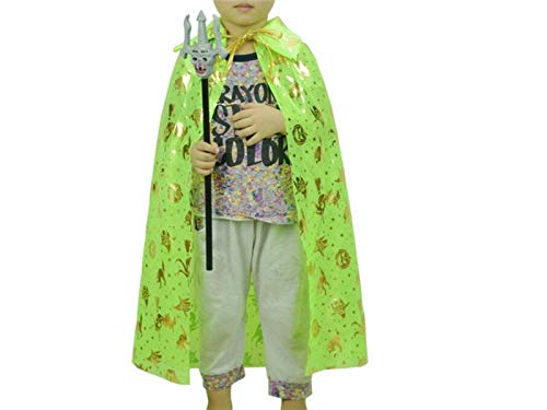 Hezon Happy Festival Cute Witch Pumpkin Cloak Christmas Costumes Children Cape for Halloween (Green) (Color : Green, Size : Length 80cm)
