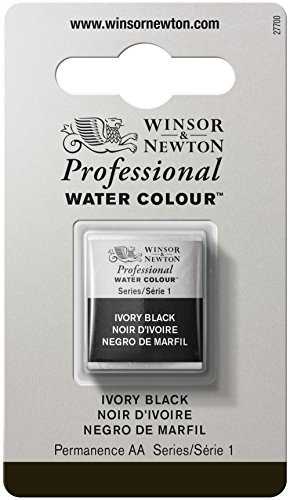 Winsor & Newton Professional Water Color with Half Pan, Ivory Black Series Roasting Pan