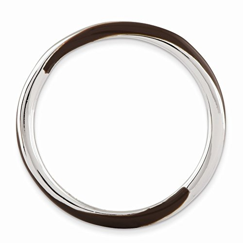 Timeless 925 Sterling Silver Rhodium Plated Twisted Brown Enamel Stackable Band ()