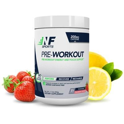 NF Sports Pre-Workout - Supports Energy, Cognitive Function, Strength, and Muscular Endurance to Optimize Workouts- Strawberry Lemonade Flavor - 100% Satisfaction Guaranteed - 25 Servings