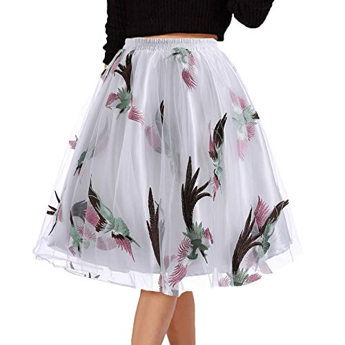 (DYS Women's Embroidered Floral Skirt Short A-line Casual Party Dress Vintage Multicolor C003 S/M)