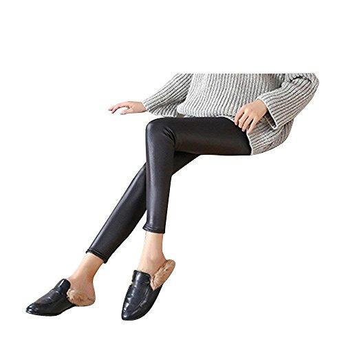HaiDean Leggins Pelle Donna Primaverile Autunno Leggins Eleganti Moda Casual Leggings Sport Semplice Glamorous Monocromo High Waist Slim Fit Pantaloni Pelle Jogging Pantaloni Nero