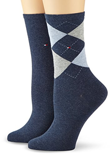 Tommy Hilfiger Damen Socken TH CHECK SOCK 2P, 2er Pack, Gr. 39/42, Blau (jeans 356)