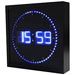 Big Digital LED Clock with Circling LED second indicator | Square Shape, 24 Hour Format - Military Time (10 / Blue LED) eHealthSource