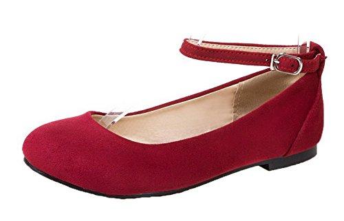 Odomolor Women's Low-Heels Pu Soild Buckle Round-Toe Court Shoes Red DsbrAFfdxG