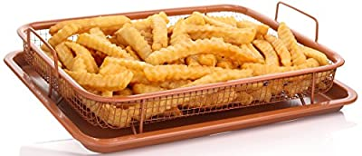 Copper Baking Sheet Air Fryer - Copper Pan Sheet with Non Stick Mesh Grill Crisper Tray - Oven Safe Non-Stick Square Pan Design