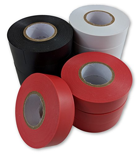 Electrical Tape - 12 Pack - White, Black and Red Rolls of Electric Tape - Each Roll is 3/4 inches wide x 60 feet - Flame Retardant Heavy Duty PVC Backed Adhesive Tape For Insulating Wires And Repairs (Insulation Electrical Pvc Tape)