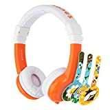 BuddyPhones Explore Foldable, Kids Volume Limiting Headphones, Built-in Audio Sharing Cable and in-Line Mic, Compatible with Fire, iPad, iPhone, and Android Devices, Orange