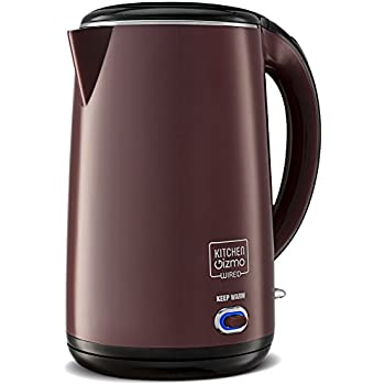 Kitchen Gizmo Stainless Steel Double-Walled Electric Kettle (Red)