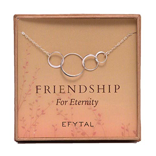 EFYTAL Four Friend Necklace, Sterling Silver Friendship Interlocking Infinity Circles Gift 4 Best Friends Group. 40th Birthday Present. ()