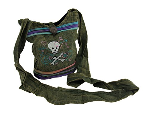 Stonewashed Body Cross Cotton Girly Crossbones Skull Womens And Cross Bag Bags Body Green aqxa6IB