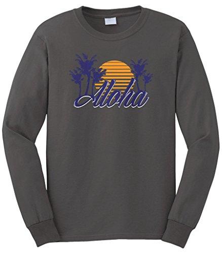 Cybertela Men's Aloha Hawaiian Hi Sunset Palm Tree Long Sleeve T-Shirt (Charcoal, X-Large) (Kamehameha Aloha Shirts)