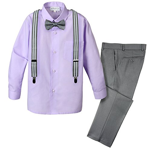 - Spring Notion Boys' 4-Piece Patterned Dress up Pants Set 12 Grey/Lilac