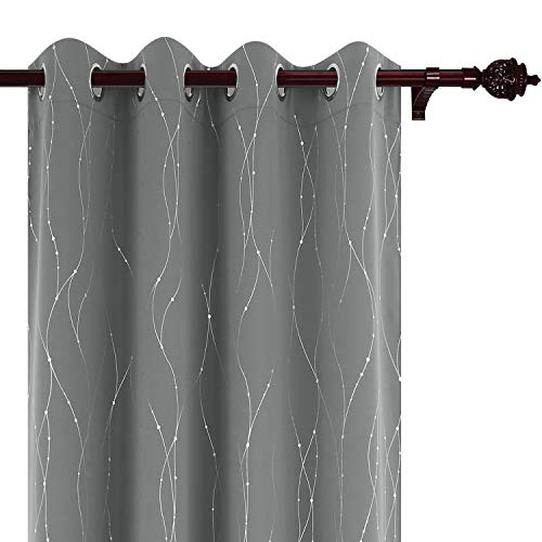 - Deconovo Blackout Grommet Curtains Pair Thermal Insulated Light Blocking Curtains with Dots Pattern for Sliding Glass Door 52 x 63 Inch Grey 2 Panels