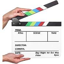 Flexzion Director Clapboard Film Movie Clapper Board Acrylic Plastic Dry Erase Stadio Camera TV Video Cut Action Scene Slate Board 10x12 with Color Sticks