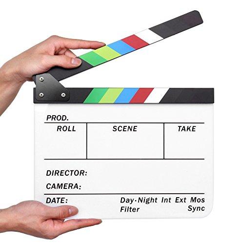 Flexzion Director Clapboard Film Movie Clapper Board Acrylic Plastic Dry Erase Stadio Camera TV Video Cut Action Scene Slate Board 10x12 with Color Sticks]()