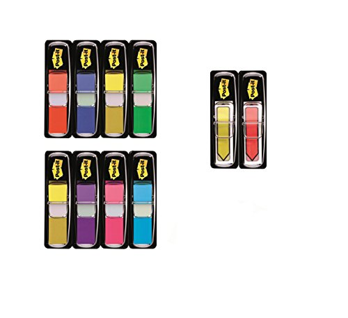 Post-it Index Strips + Index Arrows – Self-Adhesive Page Markers and Document Flags in Assorted Bright Colours - 8 x 35 Index tabs + 2X 35 Index Arrows ()