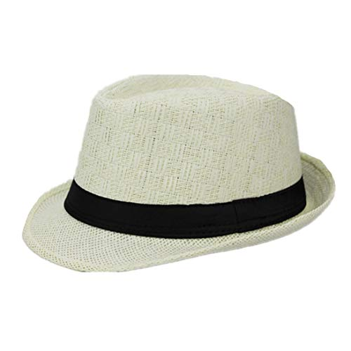 (Unisex Fedora Hats Men Women Sun Summer Beach Straw Hat Jazz Panama Cuban Gangster Cap with Black Band)