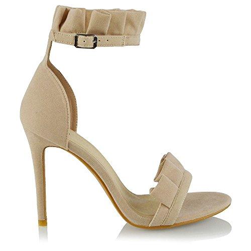 Scarpe Donna Le Caviglia Alto Signore Formale Festa Alla Glam Scamosciato Carne Cinturino Tacco Increspatura Sandalo Peep Finto Toe Essex Txfwq