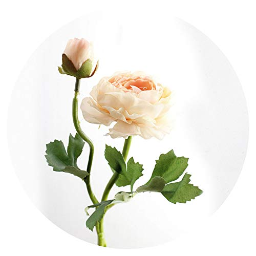 Artificial Flowers for 2 Heads Silk Artificial Flowers White Pink Champagne Fake Lotus Flowers Beautiful Rose Real Touch Wedding Home Decoration Wreath,Champagne ()