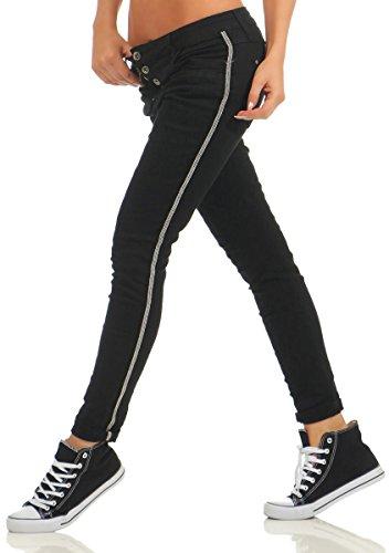 Jeans noir Fashion4Young 36 Bleu Femme Noir XS zfwBqdU