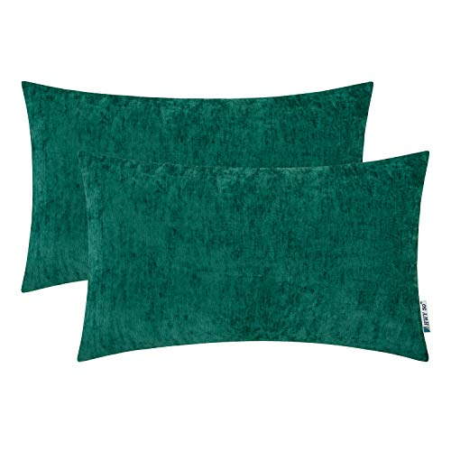 HWY 50 Cashmere Soft Decorative Rectangle Throw Pillows Covers Set Cushion Cases for Couch Bed Living Room 12x20 Inches Green Comfortable Pack of 2 (Lumbar Pillow Green)