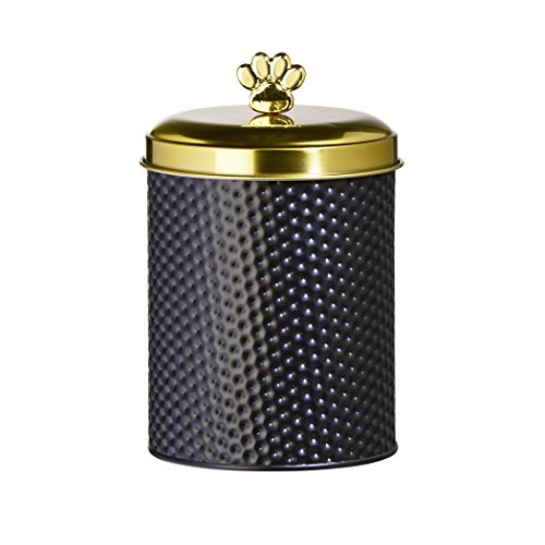 Amici Pet, 7CDI039R, Woofgang Round Metal Treats Storage Canister, Hammered Black Matte Finish, Gold Tone Lid and Paw Knob, Food Safe, 70 Ounces ()