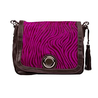 Kalencom Madonna Messenger Bag, Zebra Black/Hot Pink