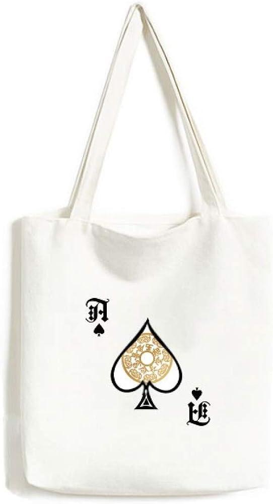 Animal Round Gold Rich Chinese Handbag Craft Poker Spade Canvas Bag Shopping Tote
