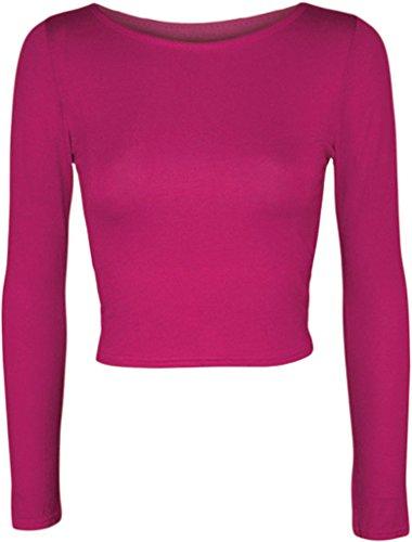 MKL Fashions - Camiseta de manga larga - para mujer fucsia