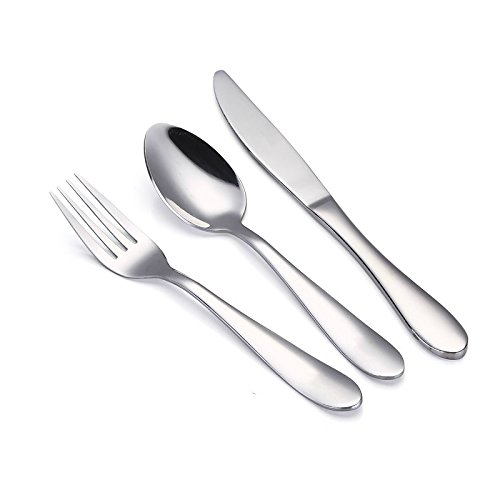 (VANRA 3-Piece Children Flatware Set 18/10 Stainless Steel Child Set Tableware Set Silver Cutlery Set Silverware Dinner Utensils for Kids (Chrome Finished) (Fork Spoon Knife))