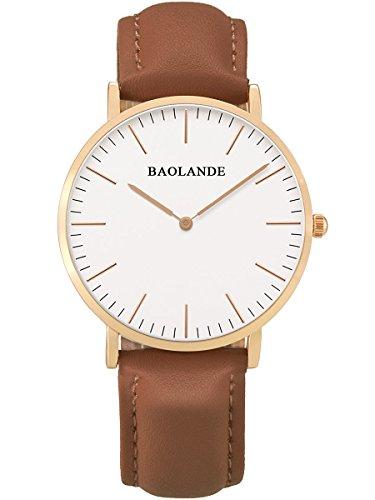 Alienwork Classic St.Mawes Quarz Armbanduhr elegant Quarzuhr Uhr modisch Zeitloses Design klassisch rose gold braun Leder U04815L-08
