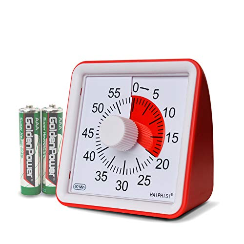 (60 Minute Visual Timer,Silent Timer Time Management Tool for Classroom or Meeting Countdown Clock for Kids and Adults (Red))