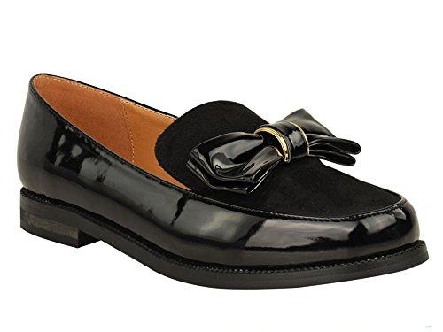 und Look und Panel Office Tag einen Bogen Design Zierstreifen Schwarzer Casual goldenen Schwarzes Wildleder raffinierten für mit Patent für Lack Damen eleganten für Abendschuhe Loafers eleganten nF8TxqwAqR