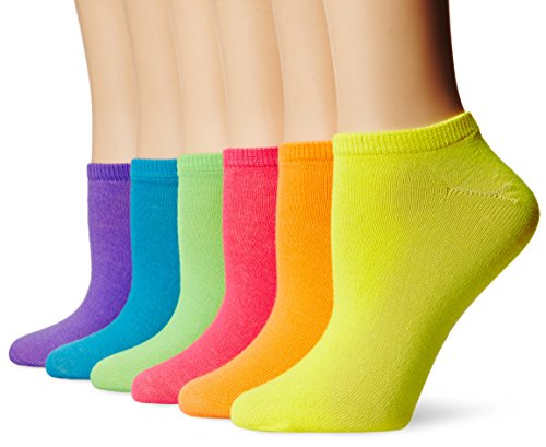 Women's 6-Pack Assorted No-Show Solid Neon Socks