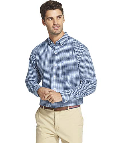 IZOD Men's Button Down Long Sleeve Stretch Performance Gingham Shirt, Clear air, Small ()