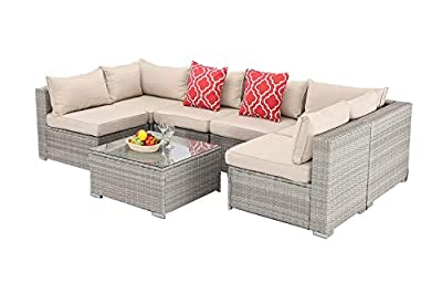 Furnimy 7PCS Outdoor Indoor Patio Furniture Sets Cushioned Sectional Conversation Sofa Sets Gray Rattan Wicker with Tempered Glass Coffee Table for Garden Backyard Poolside