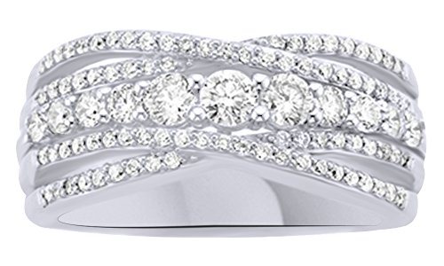 AFFY 1 Carat (ctw) Round Cut White Natural Diamond Anniversary Ring In 14K Solid Gold (I-J Color, I2-I3 Clarity)