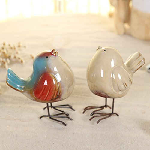 Ceramic Birds Decoration for Table, Ceramic + Metal Bird Feet, Set of 2