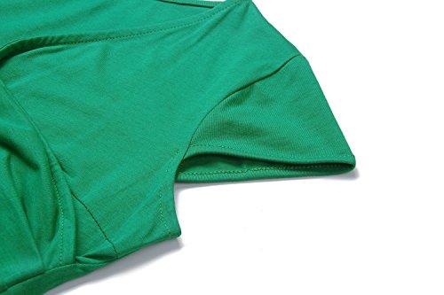 Dresses Womens Green V Dress Elegant Swing Cap Neck Sleeve Casual Summer BIKATU vg4qdv