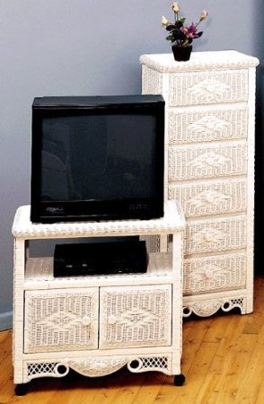 Wicker Charlotte TV/VCD Cabinet (White)