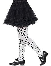 Smiffy's 49763 - Mallas de dálmata para niña, talla única, color blanco y negro
