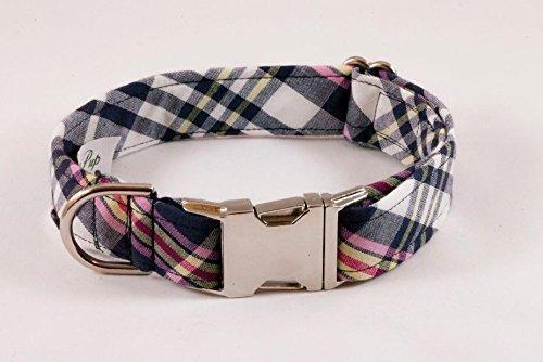 Navy and Pink Madras Dog Collar