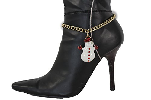 [TFJ Women Western Fashion Anklet Boot Gold Metal Chains Bling Bracelet White Snowman Shoe Charm] (Simple Character Day Costumes)
